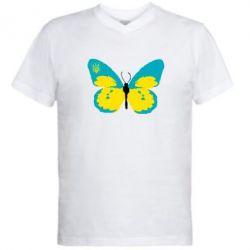 Мужская футболка  с V-образным вырезом Український метелик - FatLine