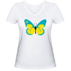 Женская футболка с V-образным вырезом Український метелик - FatLine