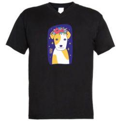 Чоловіча футболка з V-подібним вирізом Український пес