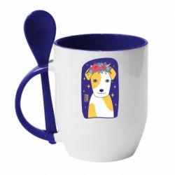 Кружка з керамічною ложкою Український пес