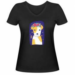 Жіноча футболка з V-подібним вирізом Український пес