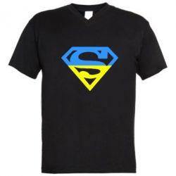 Мужская футболка  с V-образным вырезом Український Superman - FatLine