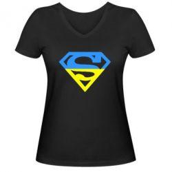 Женская футболка с V-образным вырезом Український Superman - FatLine