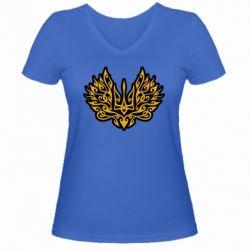 Жіноча футболка з V-подібним вирізом Український тризуб арт