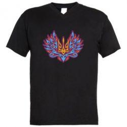 Чоловіча футболка з V-подібним вирізом Український тризуб арт