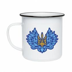 Кружка емальована Український тризуб арт