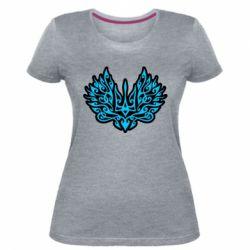 Жіноча стрейчева футболка Український тризуб арт