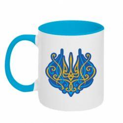 Кружка двоколірна 320ml Український тризуб монограма