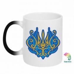 Кружка-хамелеон Український тризуб монограма