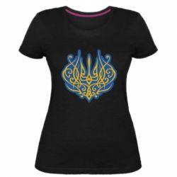 Жіноча стрейчева футболка Український тризуб монограма