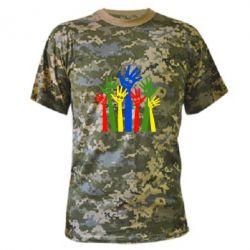 Камуфляжная футболка Улыбки на руках - FatLine