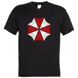Мужская футболка  с V-образным вырезом Umbrella Corp Logo - FatLine