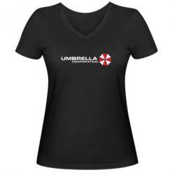Женская футболка с V-образным вырезом Umbrella Corp - FatLine