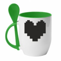 Кружка з керамічною ложкою Undertale heart