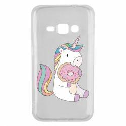 Чехол для Samsung J1 2016 Unicorn and cake