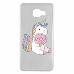 Чехол для Samsung A7 2016 Unicorn and cake