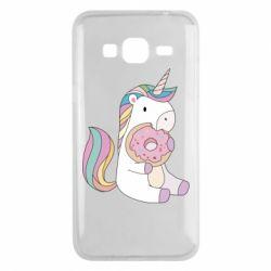 Чехол для Samsung J3 2016 Unicorn and cake