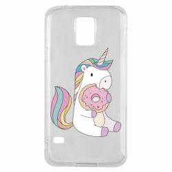Купить Прикольные рисунки, Чехол для Samsung S5 Unicorn and cake, FatLine