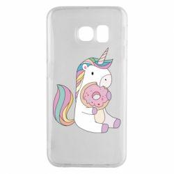 Чехол для Samsung S6 EDGE Unicorn and cake