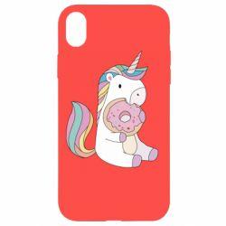 Чехол для iPhone XR Unicorn and cake