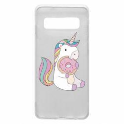Чехол для Samsung S10 Unicorn and cake