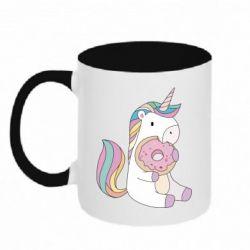 Кружка двухцветная 320ml Unicorn and cake