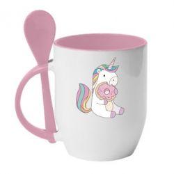 Купить Кружка с керамической ложкой Unicorn and cake, FatLine