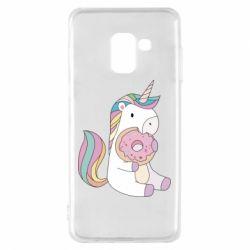 Чехол для Samsung A8 2018 Unicorn and cake