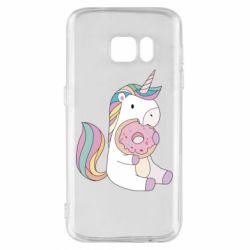 Чехол для Samsung S7 Unicorn and cake