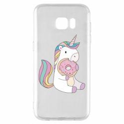 Чехол для Samsung S7 EDGE Unicorn and cake
