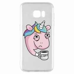 Чохол для Samsung S7 EDGE Unicorn and coffee
