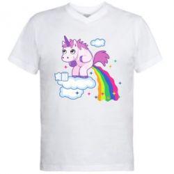 Мужская футболка  с V-образным вырезом Unicorn and Rainbow