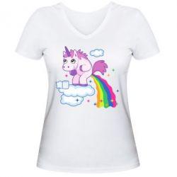 Женская футболка с V-образным вырезом Unicorn and Rainbow
