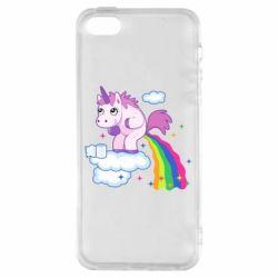 Купить Прикольные рисунки, Чехол для iPhone5/5S/SE Unicorn and Rainbow, FatLine
