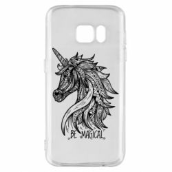 Чехол для Samsung S7 Unicorn and text