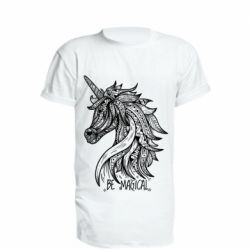 Удлиненная футболка Unicorn and text