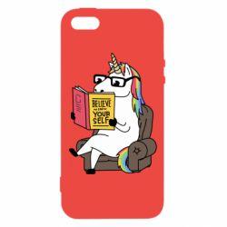 Купить Прикольные рисунки, Чехол для iPhone5/5S/SE Unicorn Believe in yourself, FatLine