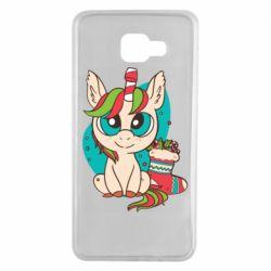 Чехол для Samsung A7 2016 Unicorn Christmas