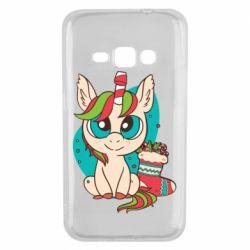 Чехол для Samsung J1 2016 Unicorn Christmas