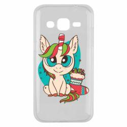 Чехол для Samsung J2 2015 Unicorn Christmas
