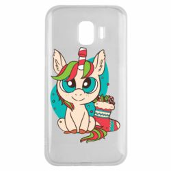 Чехол для Samsung J2 2018 Unicorn Christmas