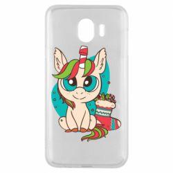 Чехол для Samsung J4 Unicorn Christmas
