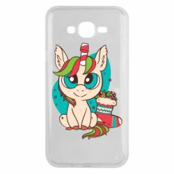 Чехол для Samsung J7 2015 Unicorn Christmas