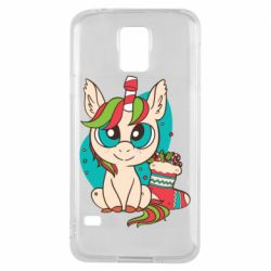 Чехол для Samsung S5 Unicorn Christmas