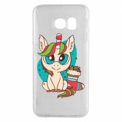Чехол для Samsung S6 EDGE Unicorn Christmas