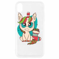 Чехол для iPhone XR Unicorn Christmas