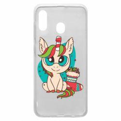 Чехол для Samsung A20 Unicorn Christmas