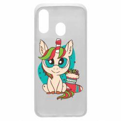 Чехол для Samsung A40 Unicorn Christmas