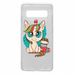 Чехол для Samsung S10 Unicorn Christmas