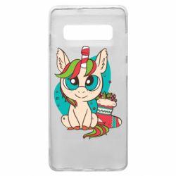 Чехол для Samsung S10+ Unicorn Christmas